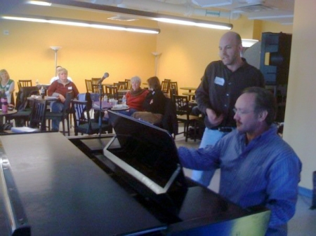 Rick Jensen at the piano works with Lonny Smith -- Photo courtesy of Matt Howe